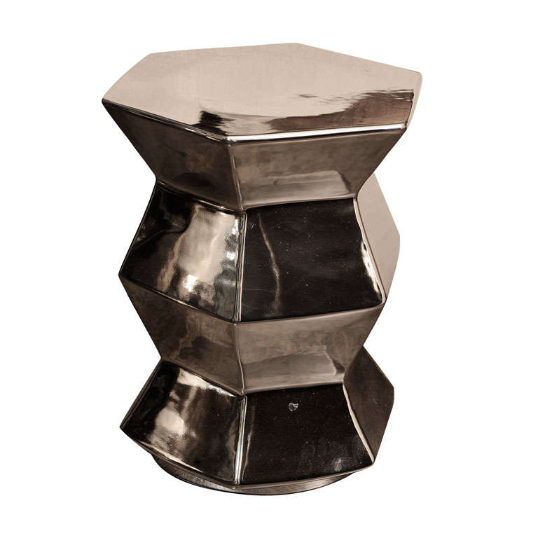 Hexagonal Silver Ceramic Stool