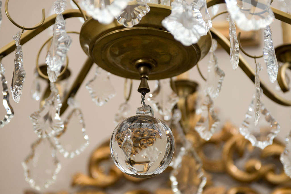 1940 S Patinated Brass And Crystal Chandelier At 1stdibs