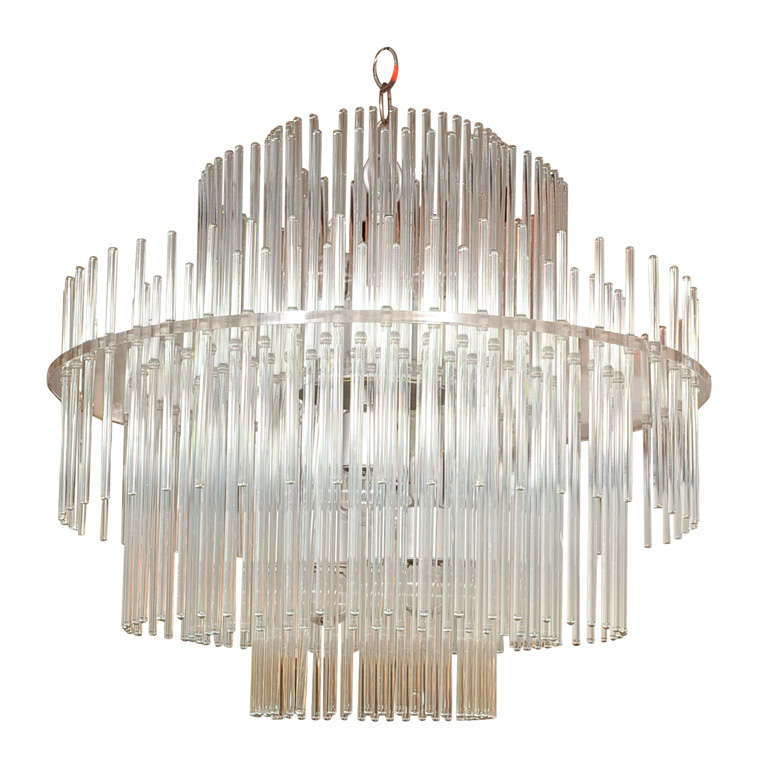 Lightolier Ring Chandelier At 1stdibs: Lightolier Glass Rod And Lucite Chandelier At 1stdibs