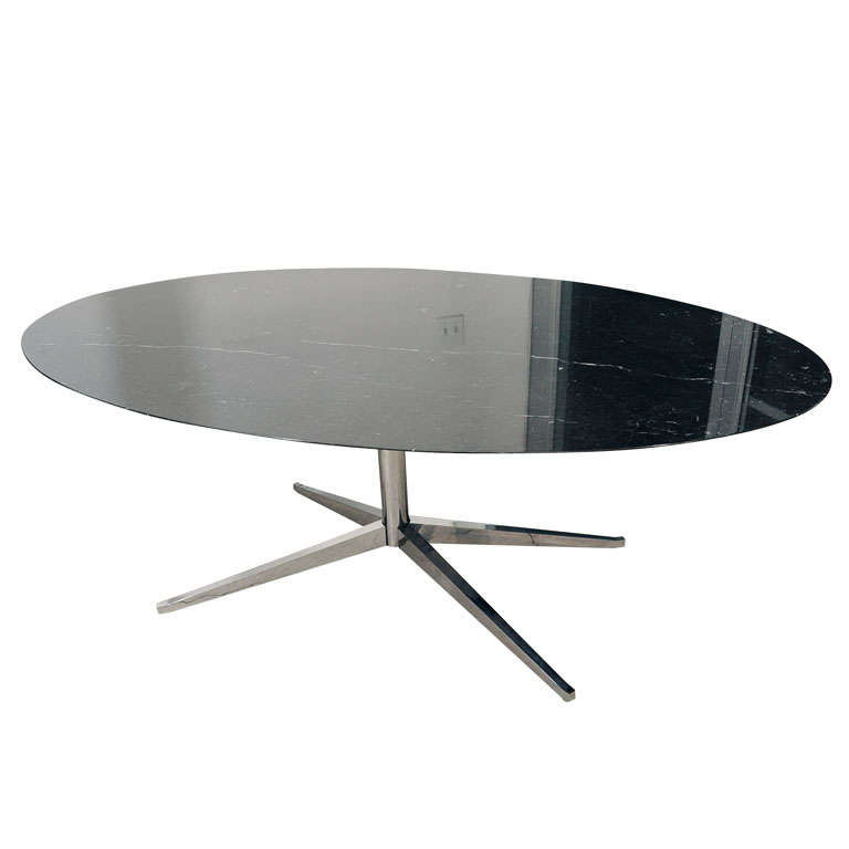 florence knoll black marble oval conference table on chrome base at 1stdibs. Black Bedroom Furniture Sets. Home Design Ideas