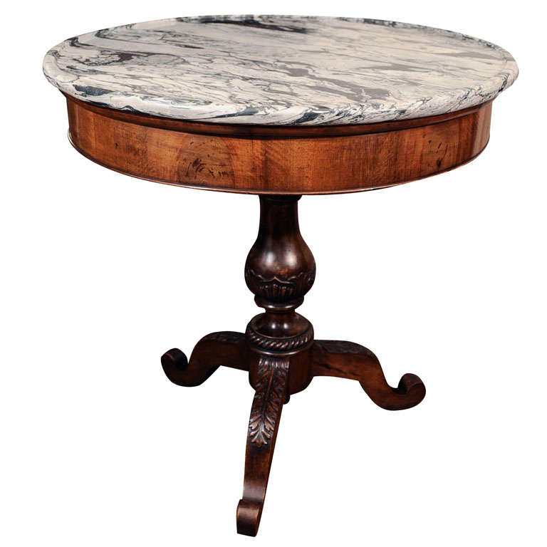 Early 19th Century Pedestal Table With St Anne Marble Top