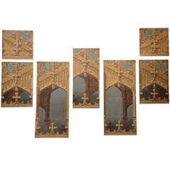 19th Century English Oil on Canvas Theater Panels