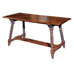 Spanish Trestle Table with Painted Bobbin Turned Legs