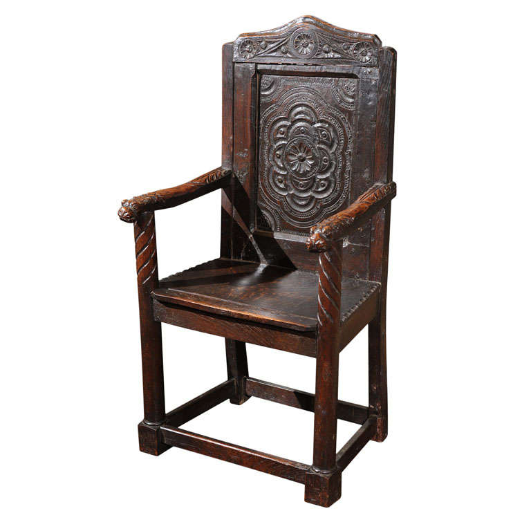 Carved Oak Gothic Revival Armchair At 1stdibs
