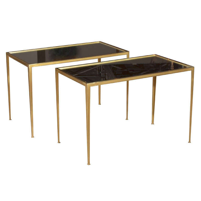 Pair of Brass German Side End Tables For Sale