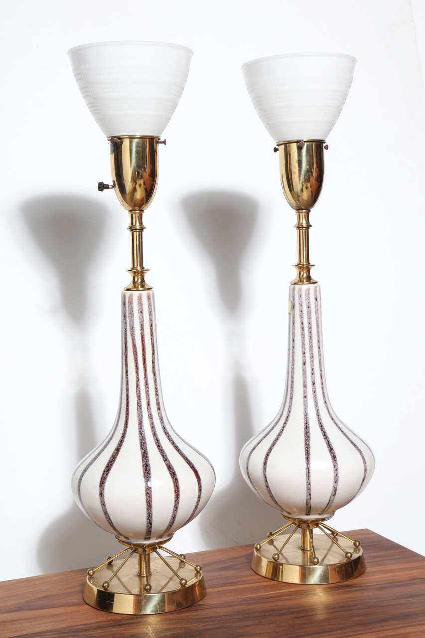 Pair of Rembrandt Lamp Co. Painted Ceramic, Brass & Glass Shade Table Lamps