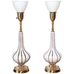 1950's pair of Rembrandt Atomic White Ceramic, White Glass & Brass Painted Lamps