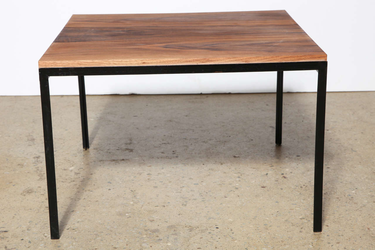 American Mid Century Florence Knoll For Knoll Associates Black Walnut And  Black Iron Side Table,