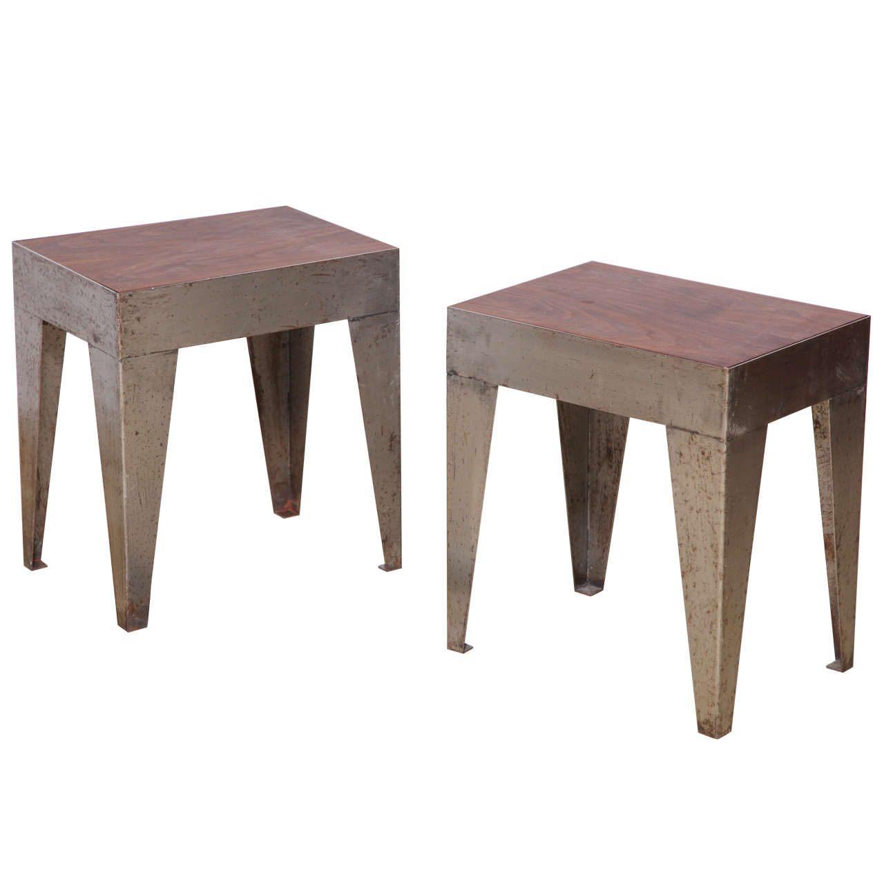 Pair Of Small Industrial Coffee Tables At 1stdibs