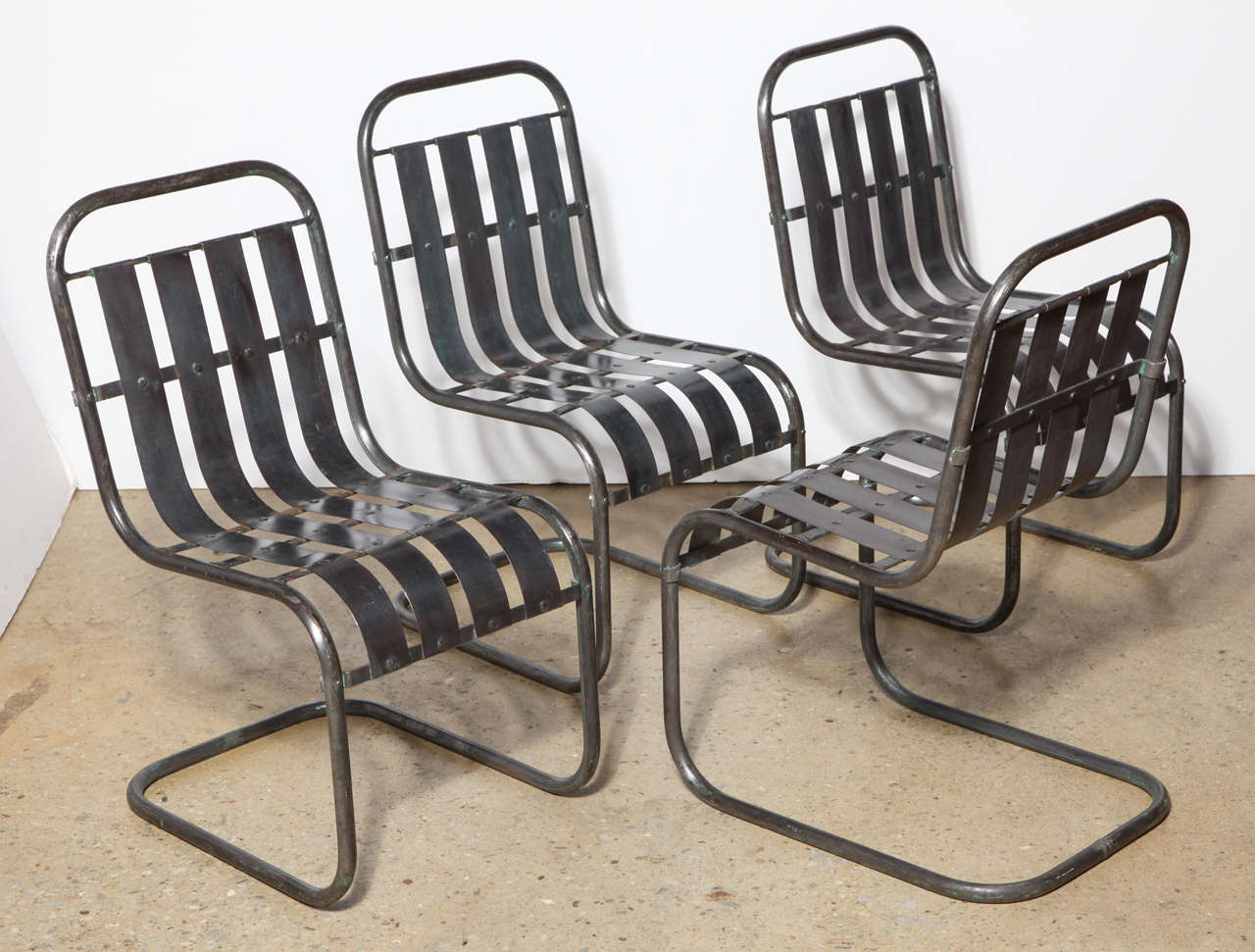 Exceptionnel Set Of Four Industrial Steel Spring Rocker Side Chairs, Circa 1930