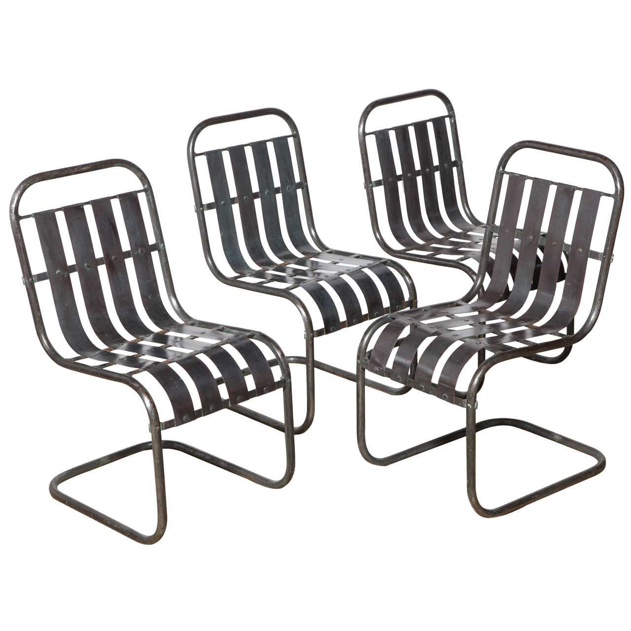 Superb Set Of Four Industrial Steel Spring Rocker Side Chairs, Circa 1930 For Sale