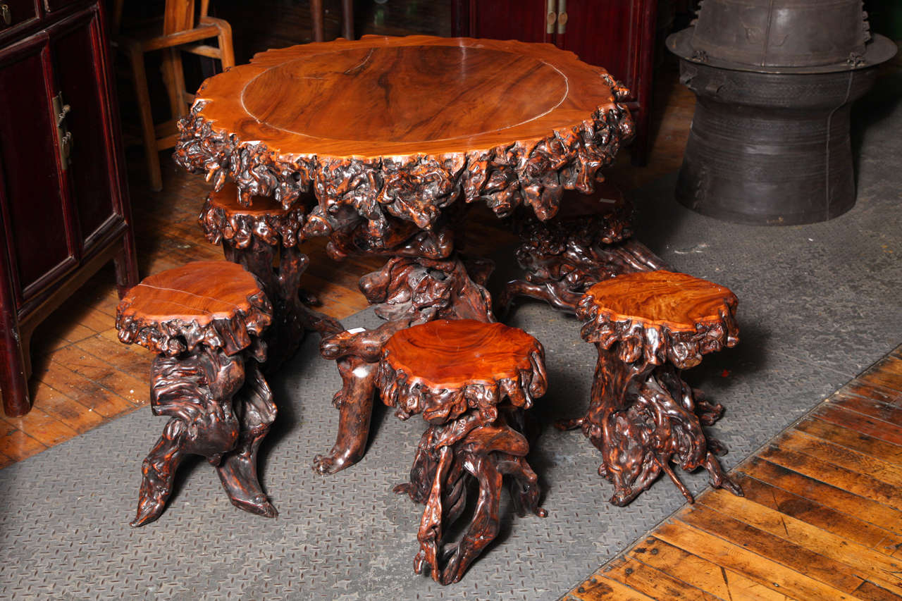 Vintage Chinese Unusual Root Table With Seating At 1stdibs