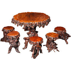 Vintage Chinese Unusual Root Table with Seating
