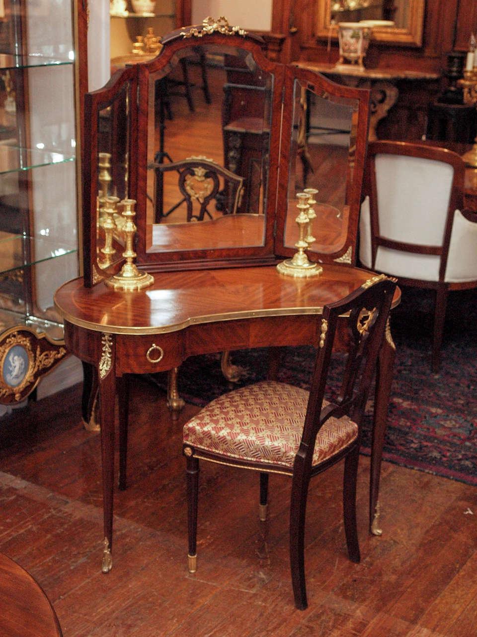 Antique French Ladies Mahogany Dressing Table At 1stdibs