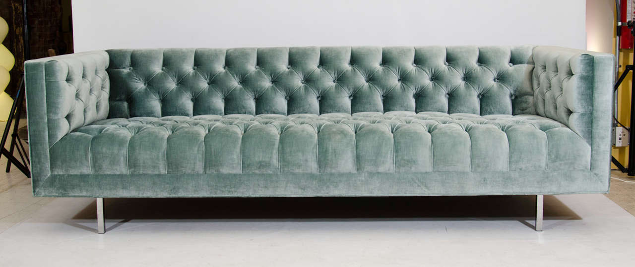 Beautiful And Plush, Button Tufted Sofa In A Light Blue/green Velvet. This
