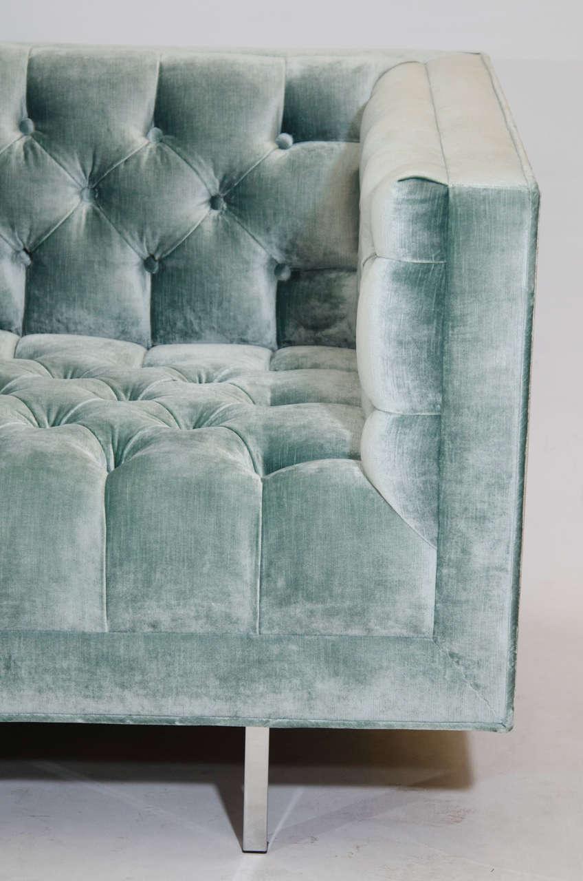 Hollywood Regency Modern Tufted Velvet Tuxedo Sofa For Sale