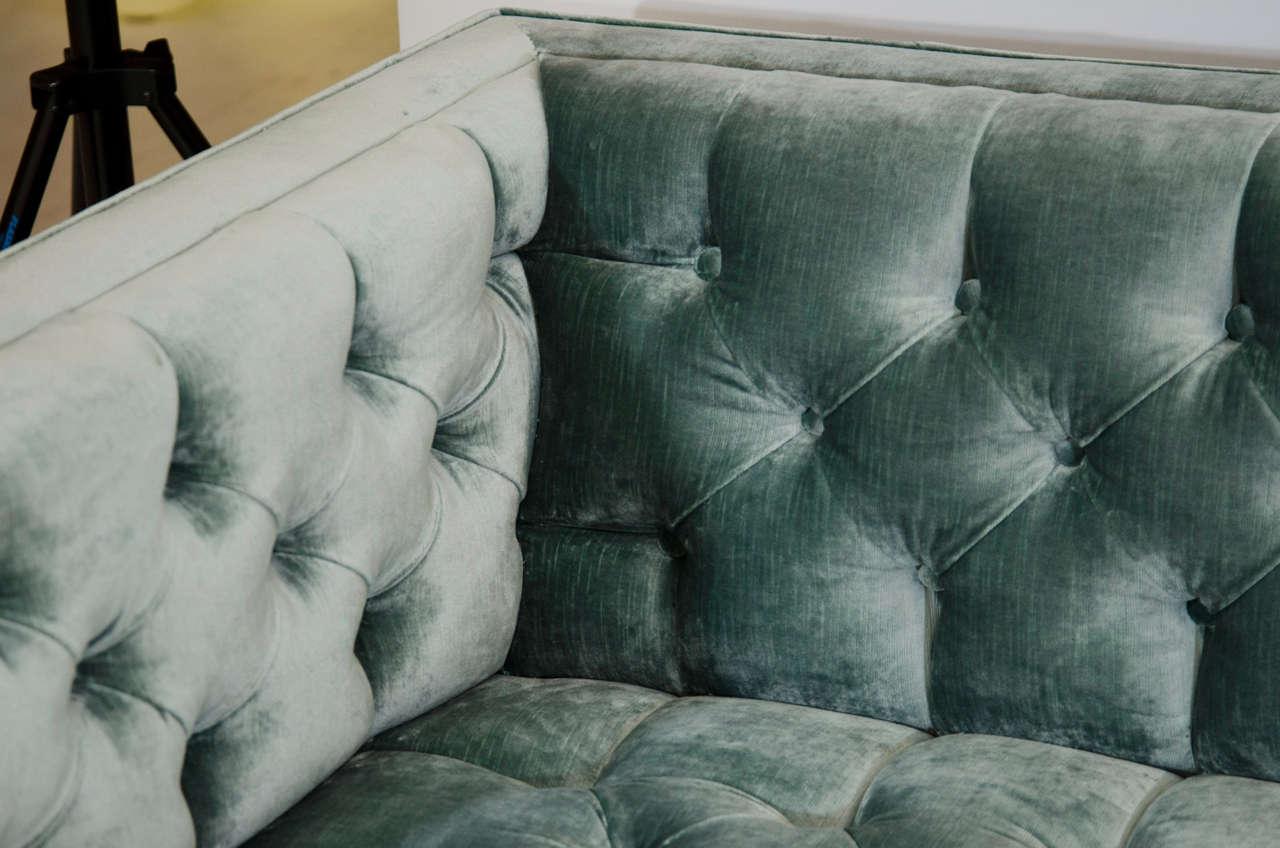 American Modern Tufted Velvet Tuxedo Sofa For Sale