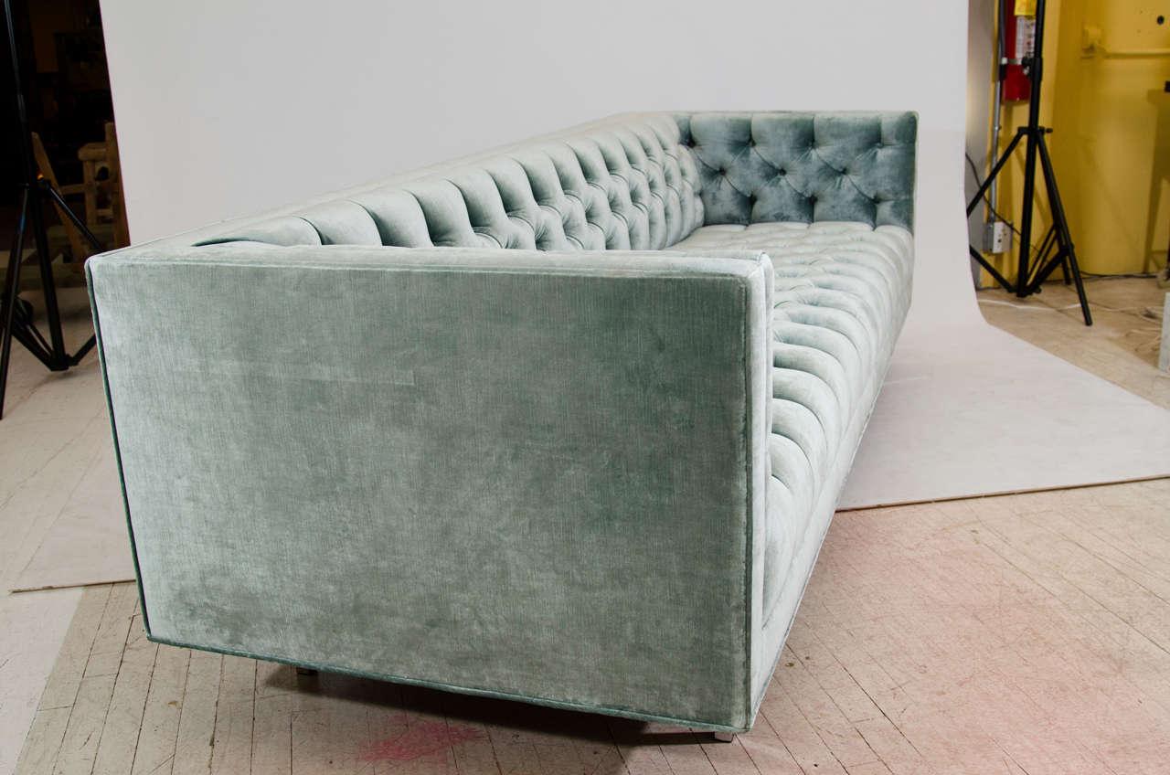 Contemporary Modern Tufted Velvet Tuxedo Sofa For Sale