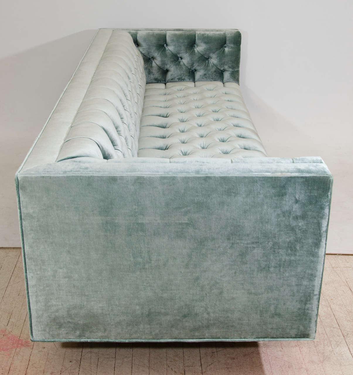 Modern Tufted Velvet Tuxedo Sofa For Sale 1