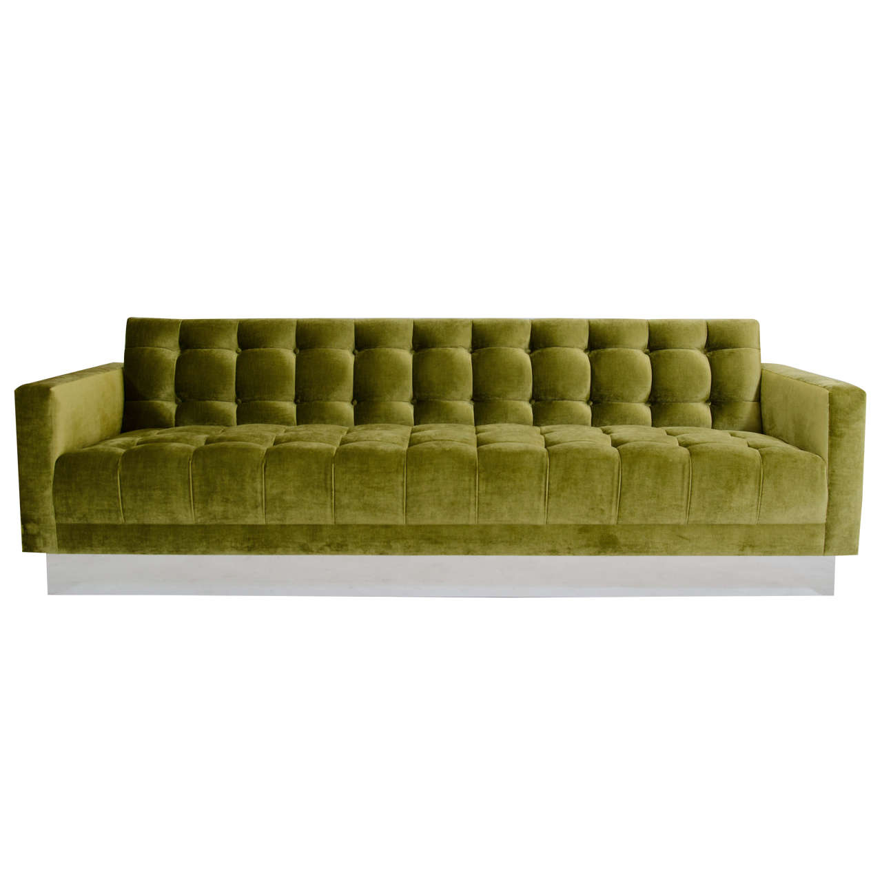 Deeply Tufted Floating Velvet Sofa For Sale