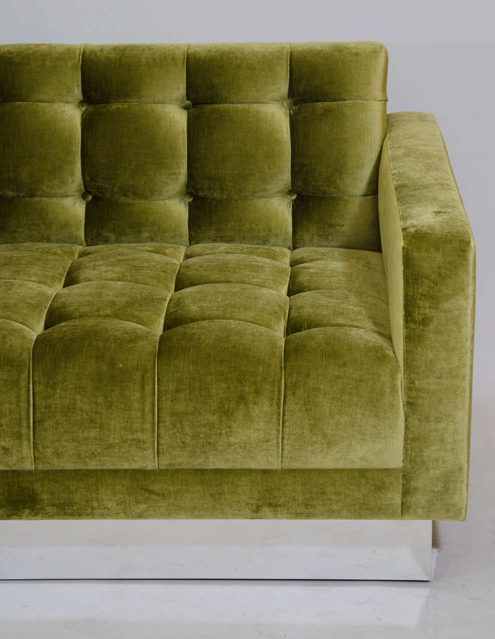 Mid-Century Modern Deeply Tufted Floating Velvet Sofa For Sale