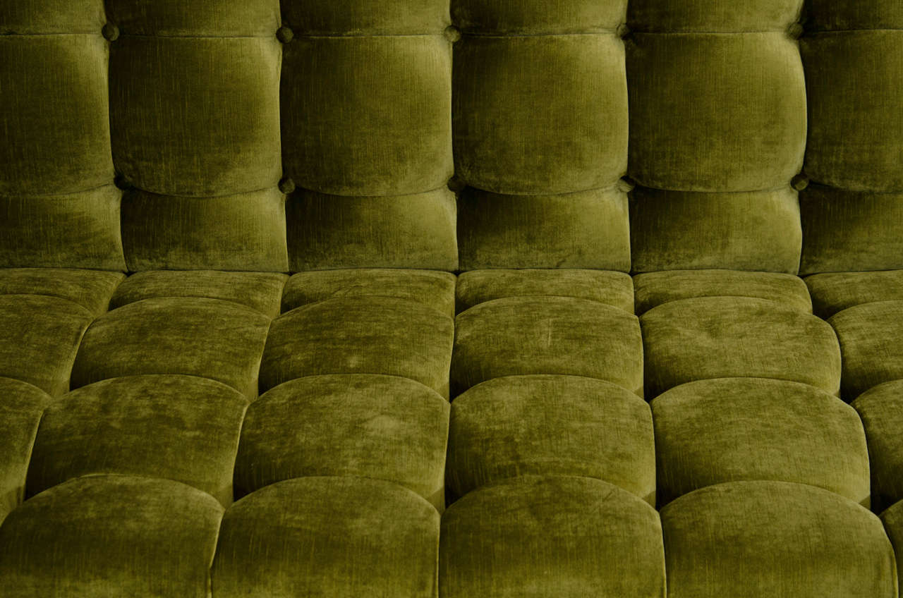 American Deeply Tufted Floating Velvet Sofa For Sale