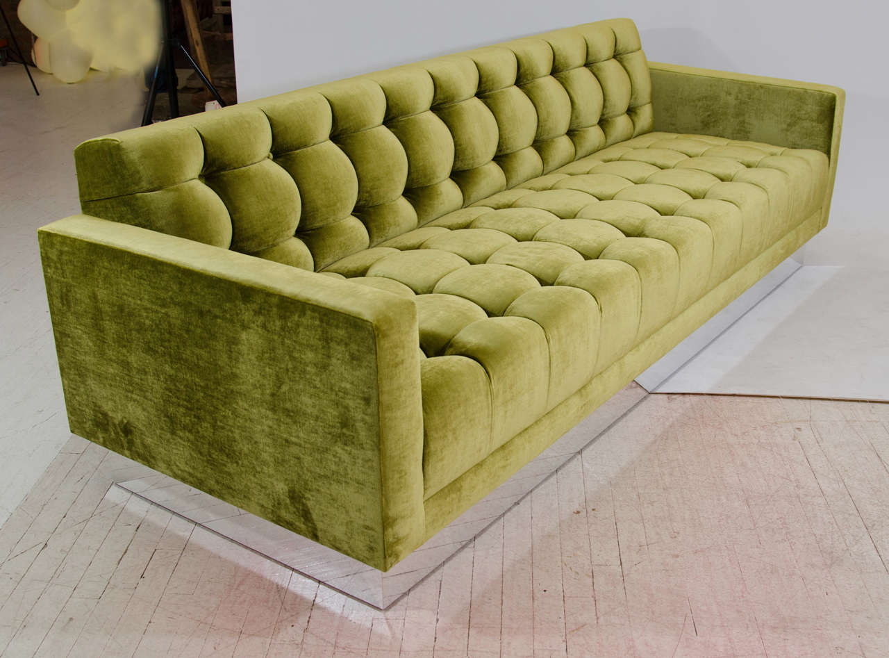 Deeply Tufted Floating Velvet Sofa In Good Condition For Sale In New York, NY