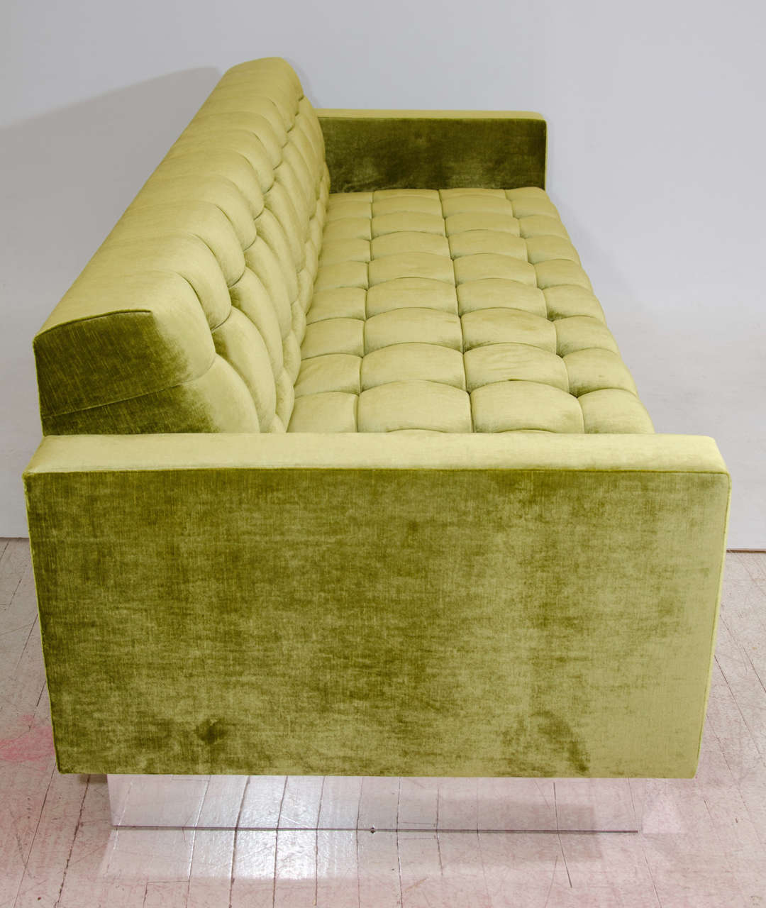 Contemporary Deeply Tufted Floating Velvet Sofa For Sale