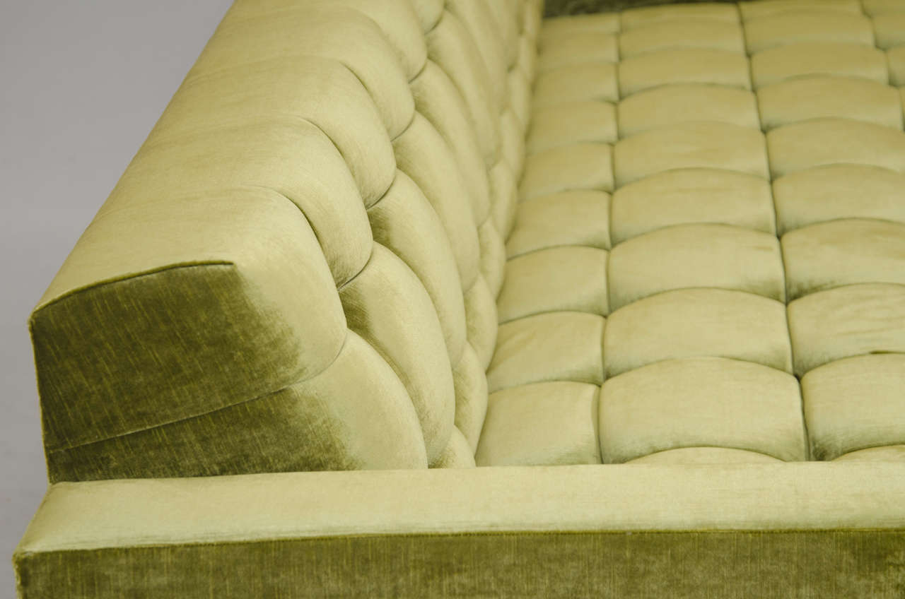Deeply Tufted Floating Velvet Sofa For Sale 1