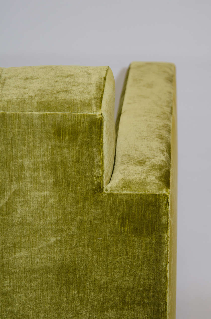 Deeply Tufted Floating Velvet Sofa For Sale 3