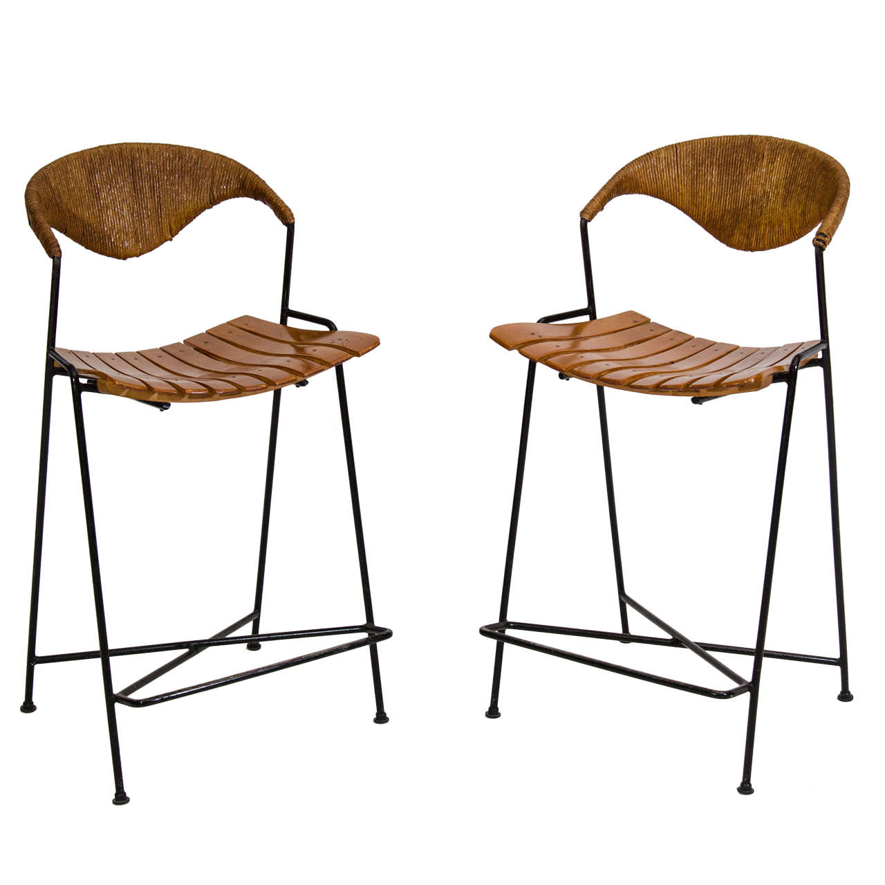 Pair Of Arthur Umanoff Counter Height Bar Stools At 1stdibs