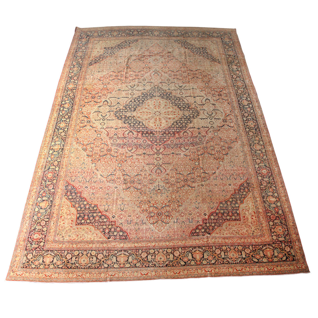 19th Century Persian Haji Jalili Tabriz Carpet with Woolen Pile and Natural Dyes