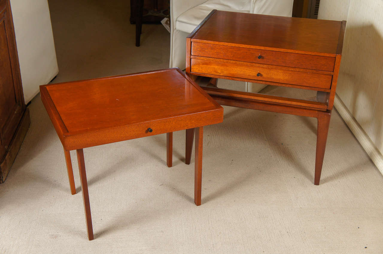 Unique mid century modern end table with two drawers that