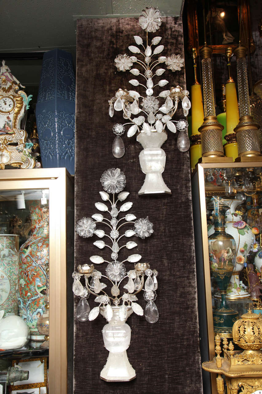 French Pair of Double-Light Rock Crystal Quartz and Silvered Bronze Wall Sconces For Sale