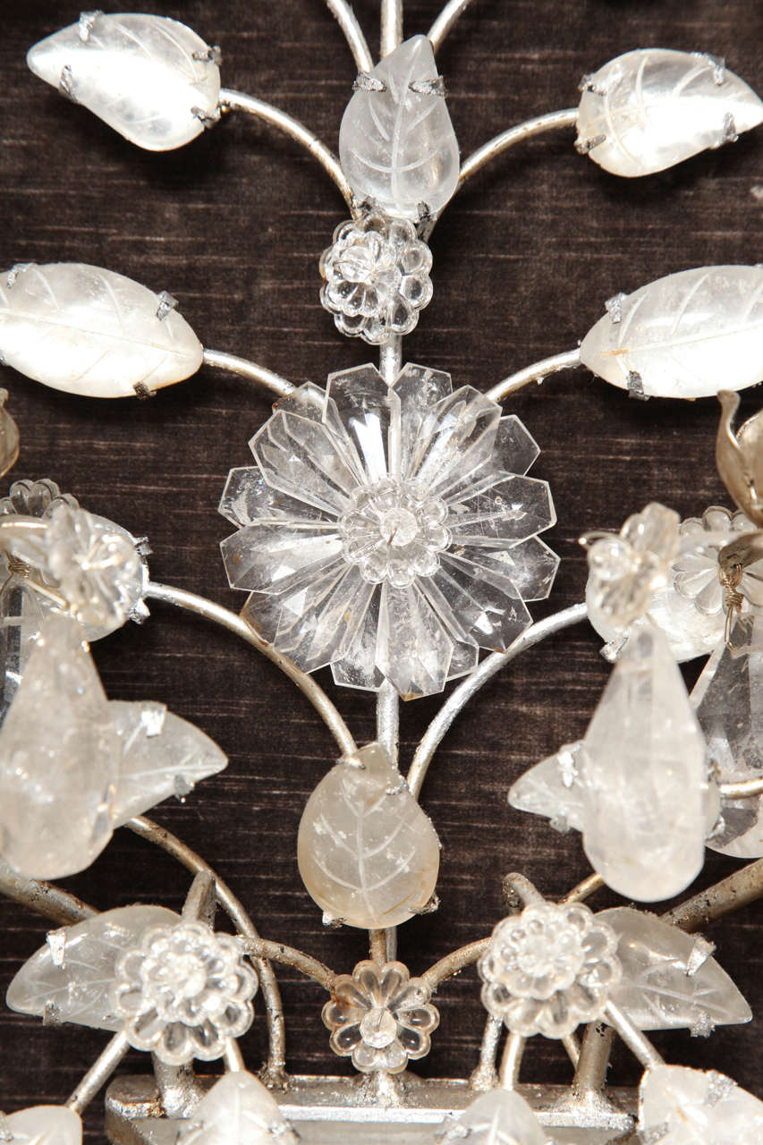 20th Century Pair of Double-Light Rock Crystal Quartz and Silvered Bronze Wall Sconces For Sale