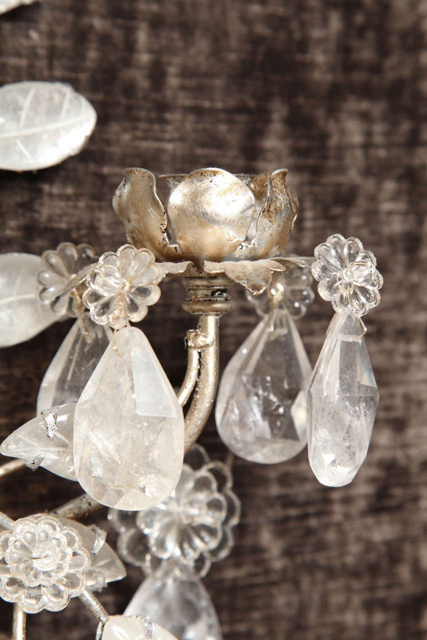 Pair of Double-Light Rock Crystal Quartz and Silvered Bronze Wall Sconces For Sale 2