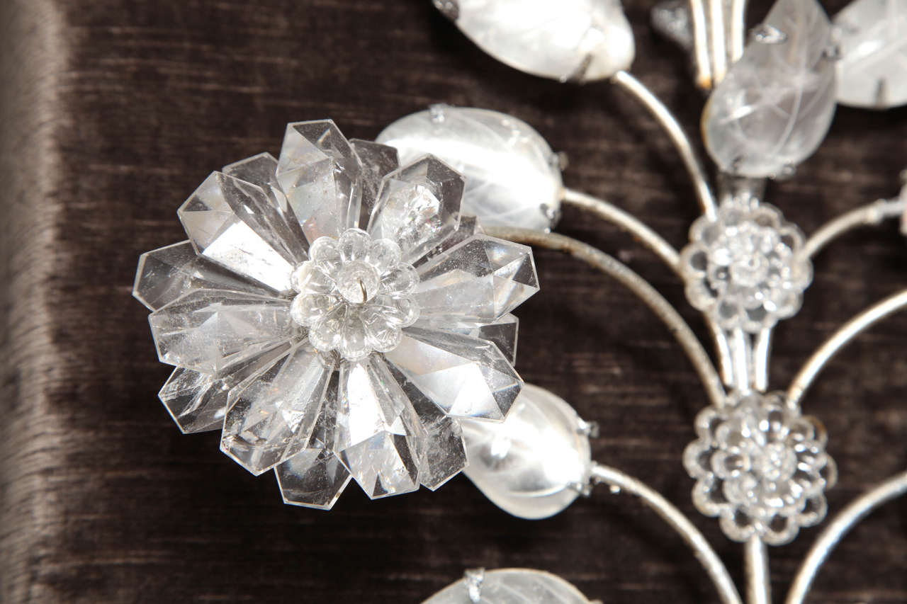 Pair of Double-Light Rock Crystal Quartz and Silvered Bronze Wall Sconces For Sale 3