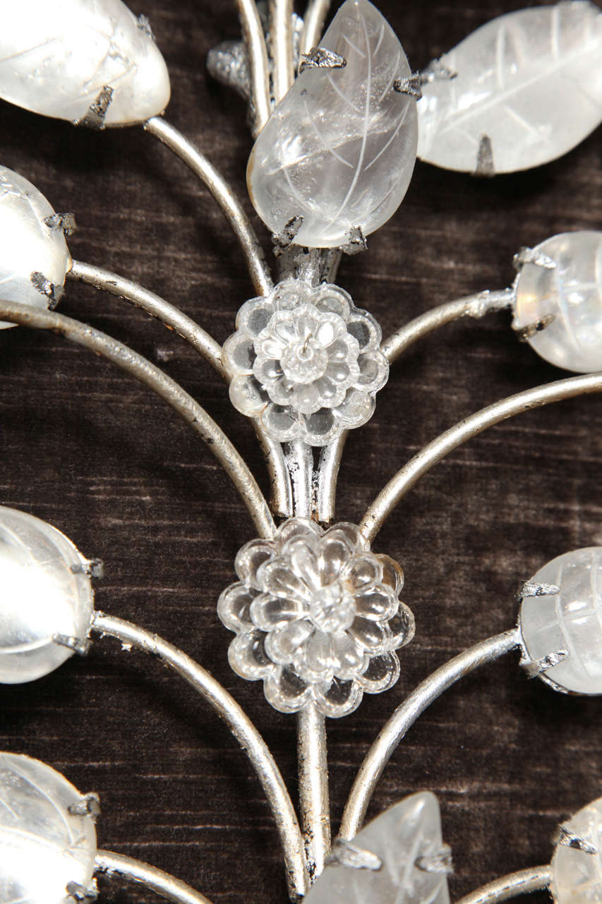 Pair of Double-Light Rock Crystal Quartz and Silvered Bronze Wall Sconces For Sale 4