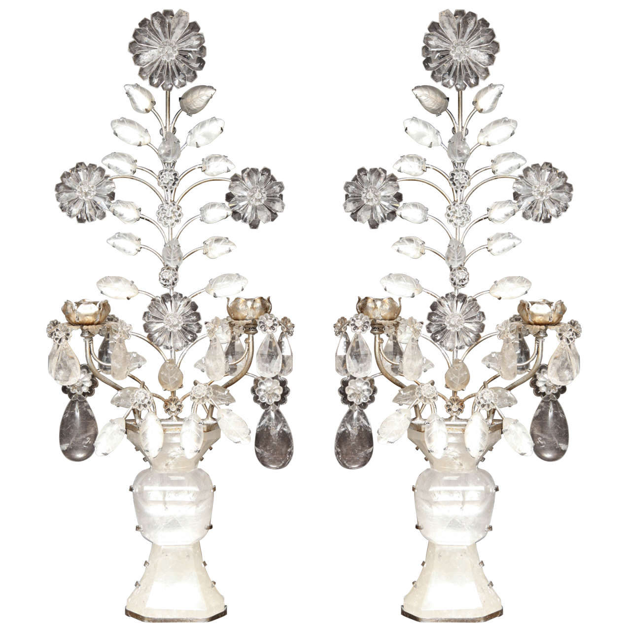 Pair of Double-Light Rock Crystal Quartz and Silvered Bronze Wall Sconces