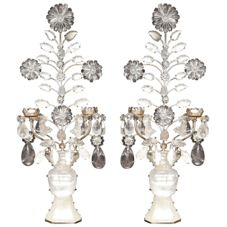 Pair of Double-Light Rock Crystal Quartz and Silvered Bronze Wall Sconces For Sale