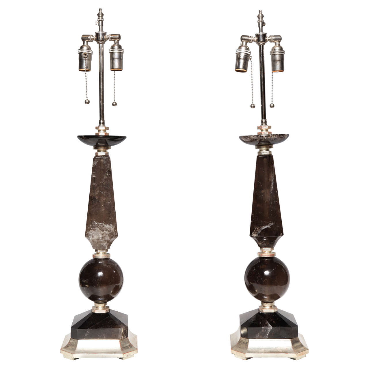 Pair of Smoky Rock Crystal Quartz Lamps with Silvered Wood Bases