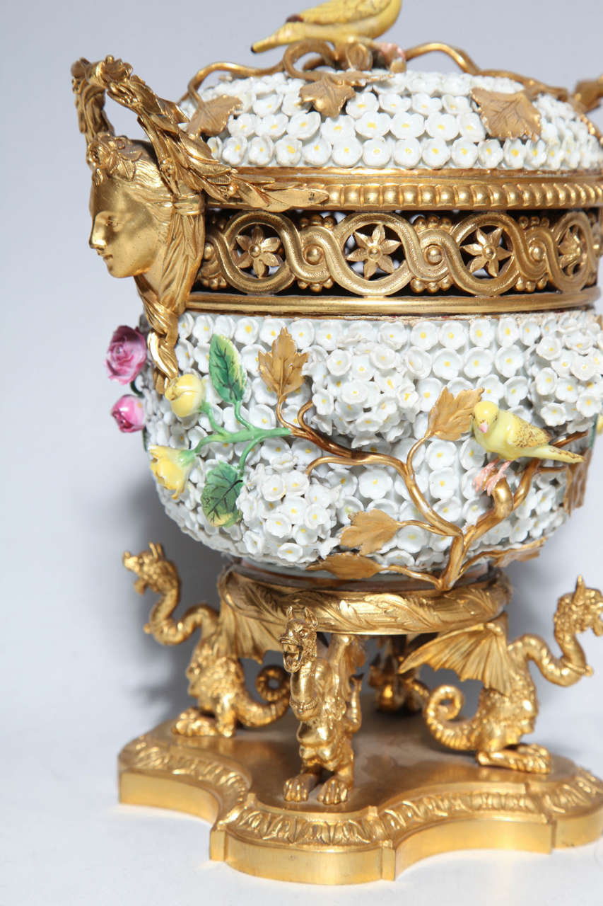 19th Century Pair of Meissen Schneeballen and Intricately Ormolu-Mounted Potpourri Vases For Sale
