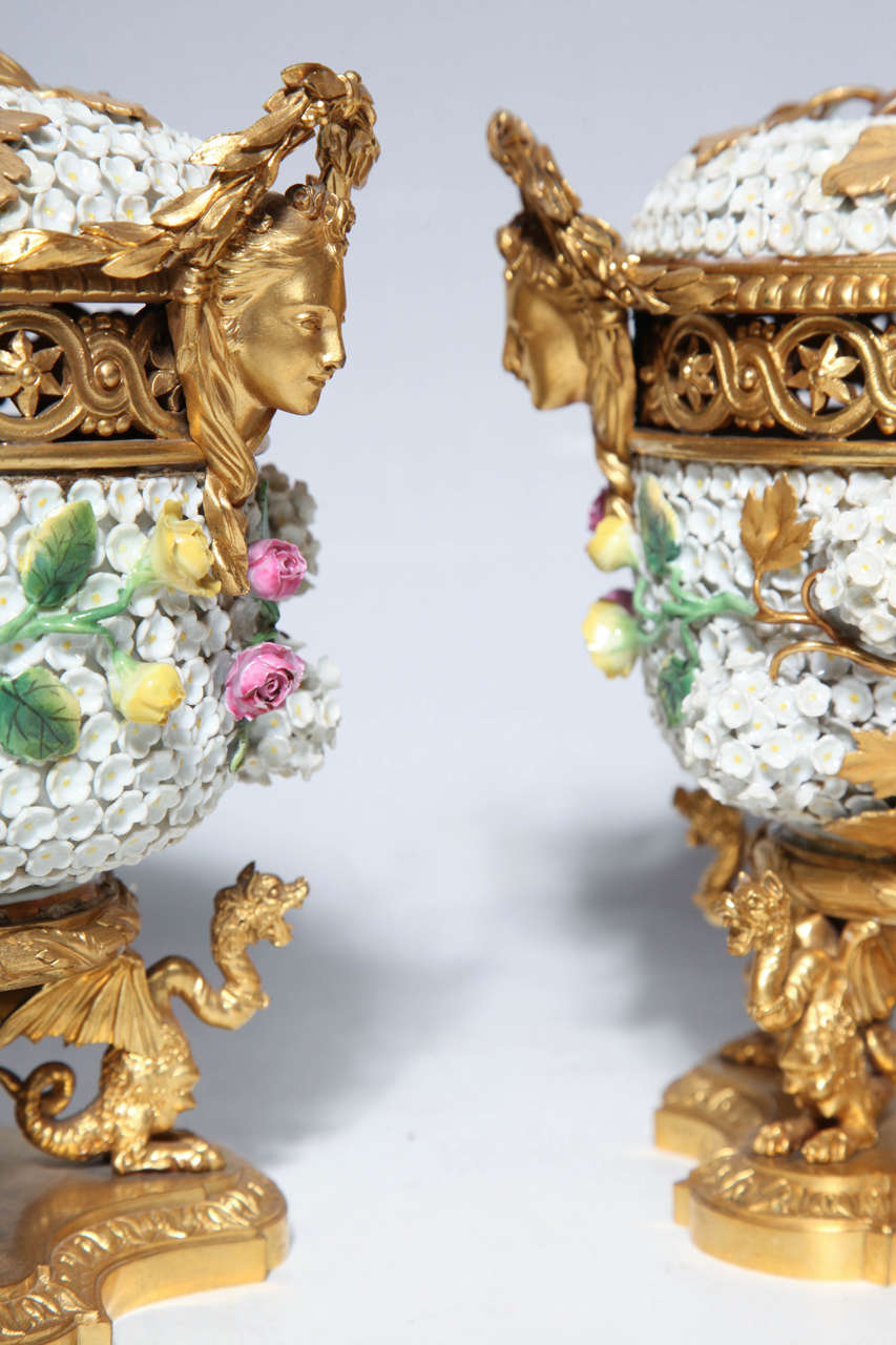 Pair of Meissen Schneeballen and Intricately Ormolu-Mounted Potpourri Vases For Sale 3