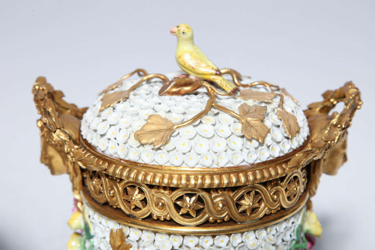 Pair of Meissen Schneeballen and Intricately Ormolu-Mounted Potpourri Vases For Sale 4