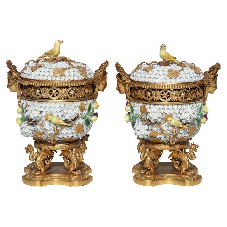 Pair of Meissen Schneeballen and Intricately Ormolu-Mounted Potpourri Vases For Sale