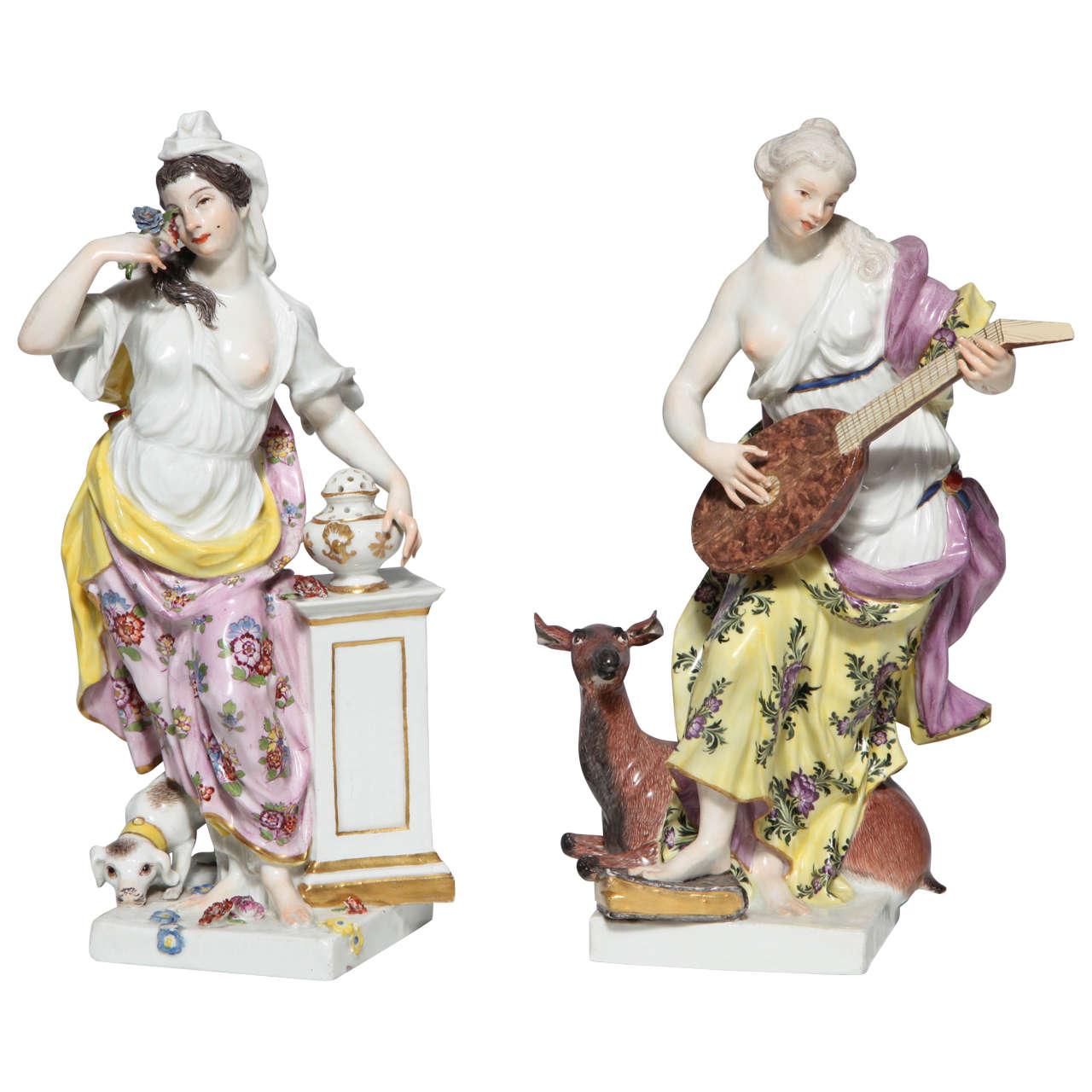 Pair of 18th Century Meissen Porcelain Figurines of the Sense