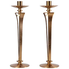 Pair of Bronze Candleholders by Jean Pascaud