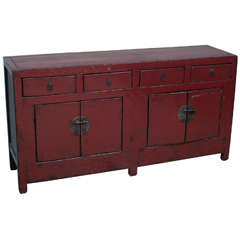 19th Century Chinese Red Lacquer Sideboard