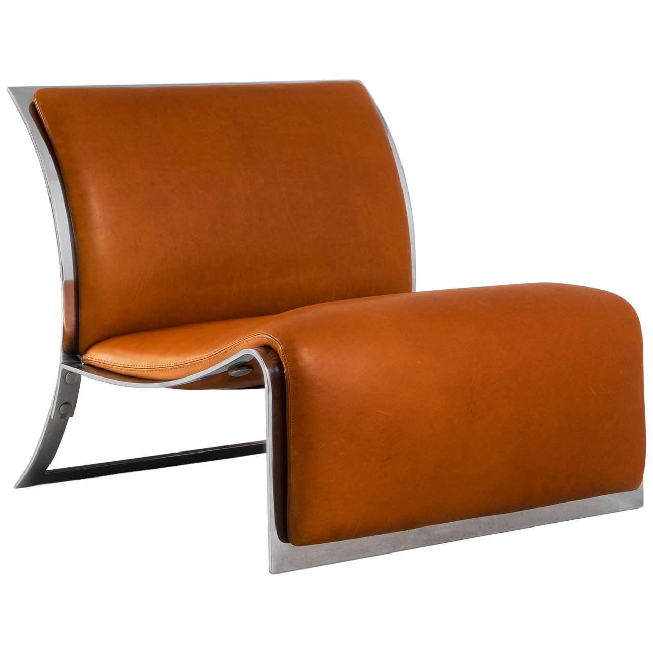 lounge chair in chrome and cognac leather by vittorio introini for  - lounge chair in chrome and cognac leather by vittorio introini for saporiti
