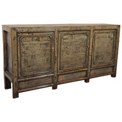 Antique Chinese Light Olive Green Lacquer Sideboard